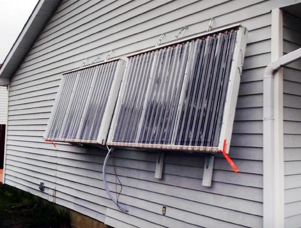 Крепление солнечного коллектора на стену здания